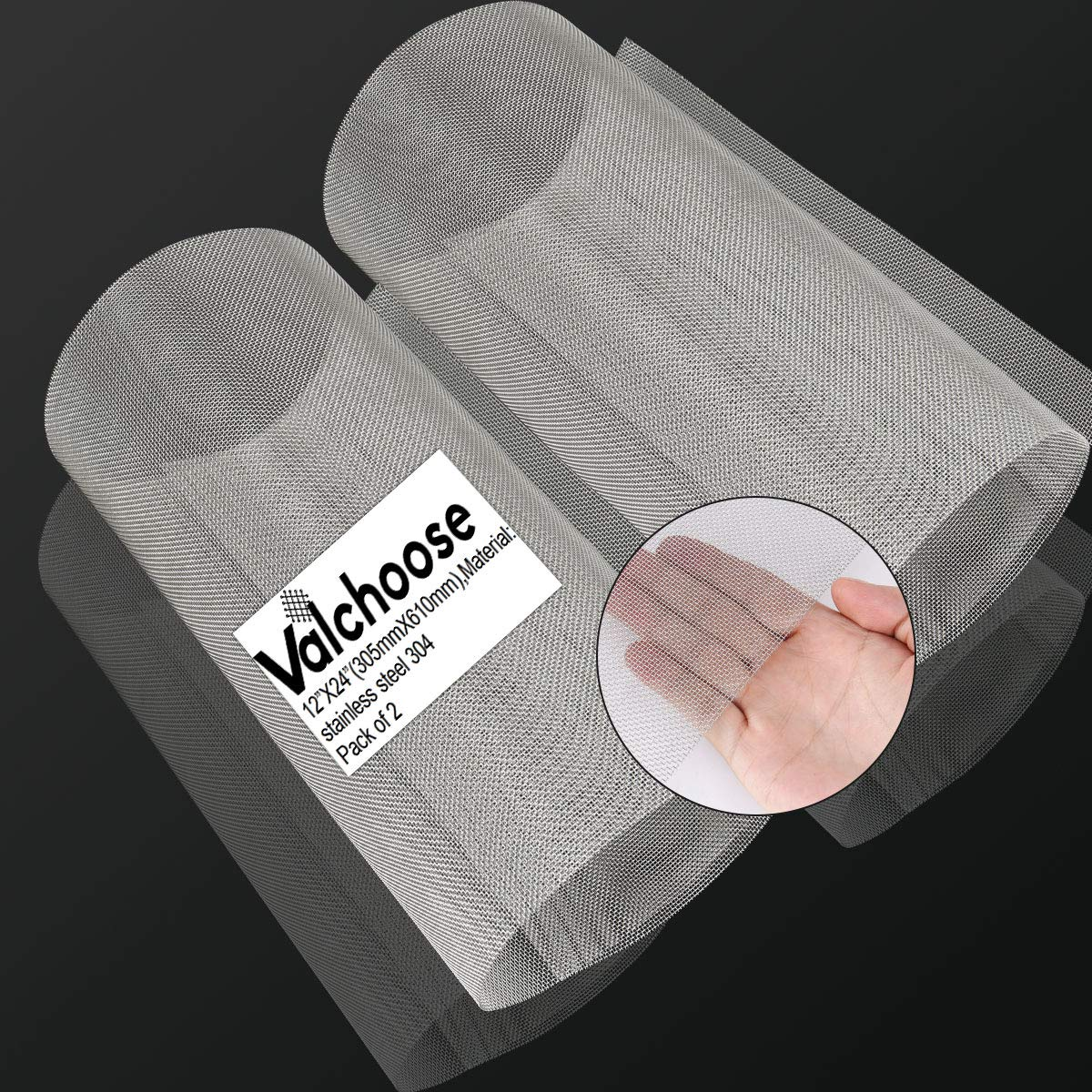 """2PACK Stainless Mesh Screen 12""""X24""""(305mmX610mm), 20 Mesh 304 Steel Woven Wire Mesh, 1mm Hole Sturdy Easy to Cut Never Rust by Valchoose"""