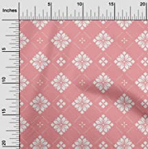 oneOone Velvet Pink Salmon Fabric Floral & Tiles Moroccan Quilting Supplies Print Sewing Fabric by The Yard 58 Inch Wide