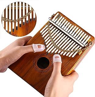 Thumb Piano 17 Keys Kalimba Acacia KOA Body Finger Piano Mbira Sanza Thumb Instrument with Kalimba Songbook 15 Songs Study Guide, Tuning Hammer and 4 Pcs Finger Thumb Picks(Solid KOA Wood)