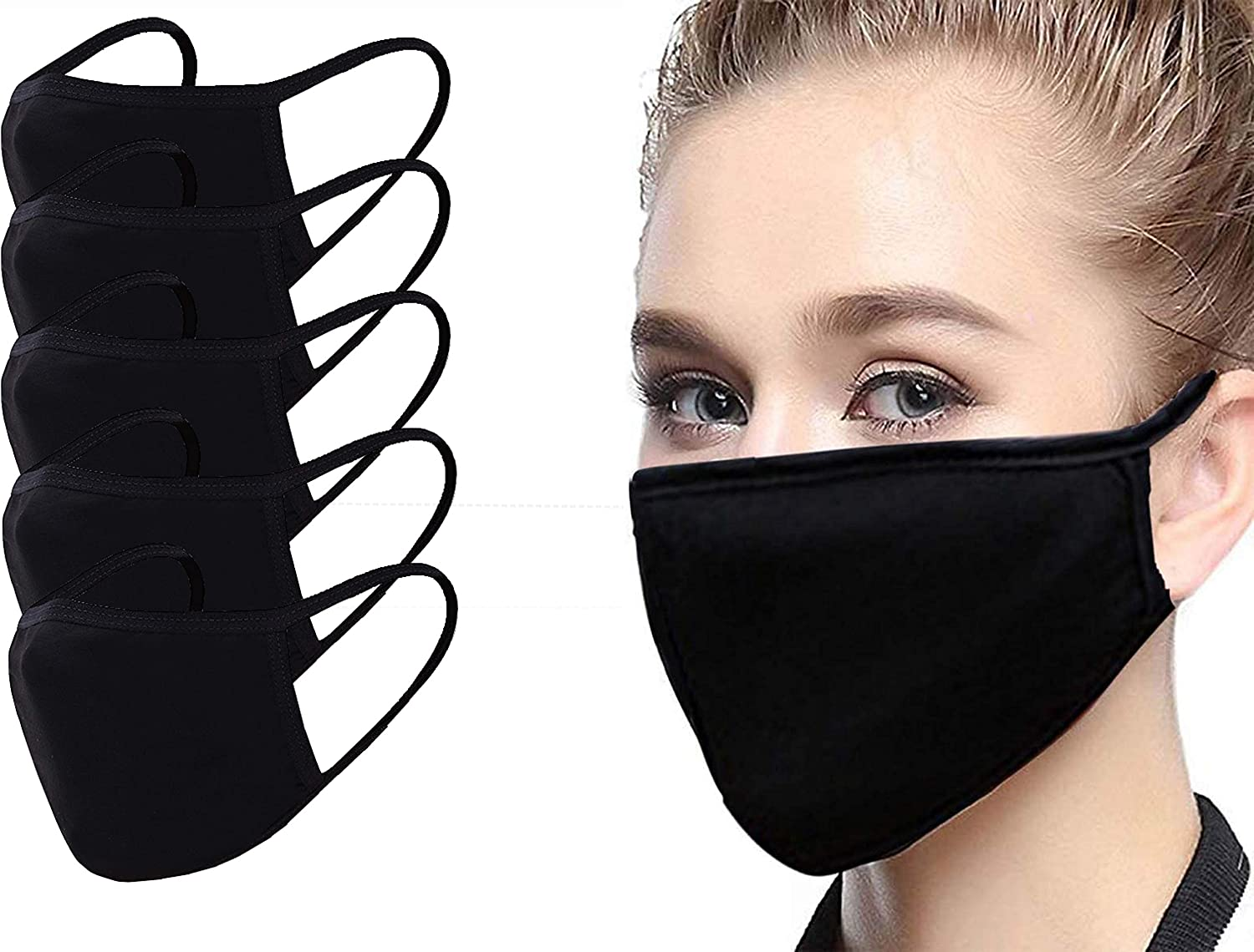 Soft Cotton Material Face Fabric with Elastic Ear Loop,Windproof Face Bandana for Adults Women Men N//N 5Packs Washable Face Cloth
