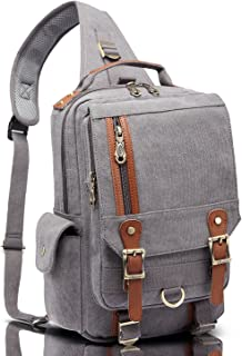 114b1371b672 FREE Shipping on eligible orders. KAUKKO Canvas Messenger Bag Cross Body  Shoulder Sling Backpack Travel Hiking Chest Bag