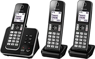 Panasonic DECT Digital Cordless Phone with Answering System & Triple-Pack Handsets, Black (KX-TGD323ALB)