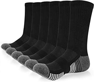 coskefy Sports Socks Cushioned Hiking Socks Crew Athletic Socks for Outdoors Walking Trainer Running (6 Pairs)