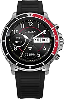Citizen CZ Smart HR Heart Rate Smartwatch 46mm Black Silicone Stainless Steel Watch, Powered by Google Wear OS