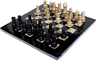 Radicaln Black and Fossil Coral Weighted Handmade Marble Adult Chess Board Tournament Chess Set - Non Magnetic Non Othello Non Go - Best Essential Home Décor Ambassador Gift Style Chess Set