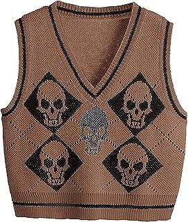 Chaleco de suéter para mujer Argyle Y2k cuello en V sin mangas Puentes vintage suéter de punto suelto suéter de los años 9...