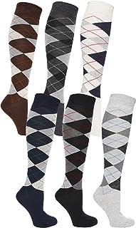 6 Pairs Mens Long Hose Cotton Rich Argyle Golfing Sport Knee High Socks Size 6-11