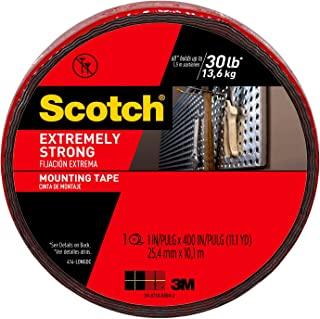Scotch Extreme Mounting Tape, 1-inch X 400-inches, Black, 1-Roll (414-LONGDC) - 414-LONG/DC