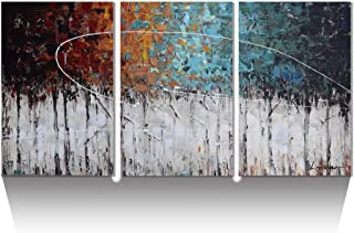 ARTLAND Hand-Painted Color Forest 3-Piece Gallery-Wrapped Abstract Oil Painting On Canvas Wall Art Decor Home Decoration 36x72 inches
