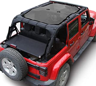 RT-TCZ Sunshade Mesh Shade Top Cover Polyester Durable Sun Shade for Jeep Wrangler 2007-2017 JK JKU 4 Door Black Black