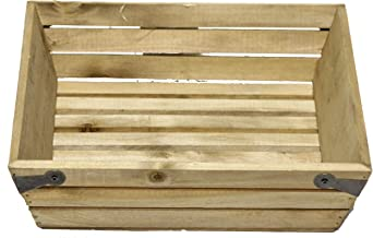 Admired By Nature ABN5E017-NTRL Natural Wood Small Shallow Square Crate with Metal Corner Design, 017-NTRL