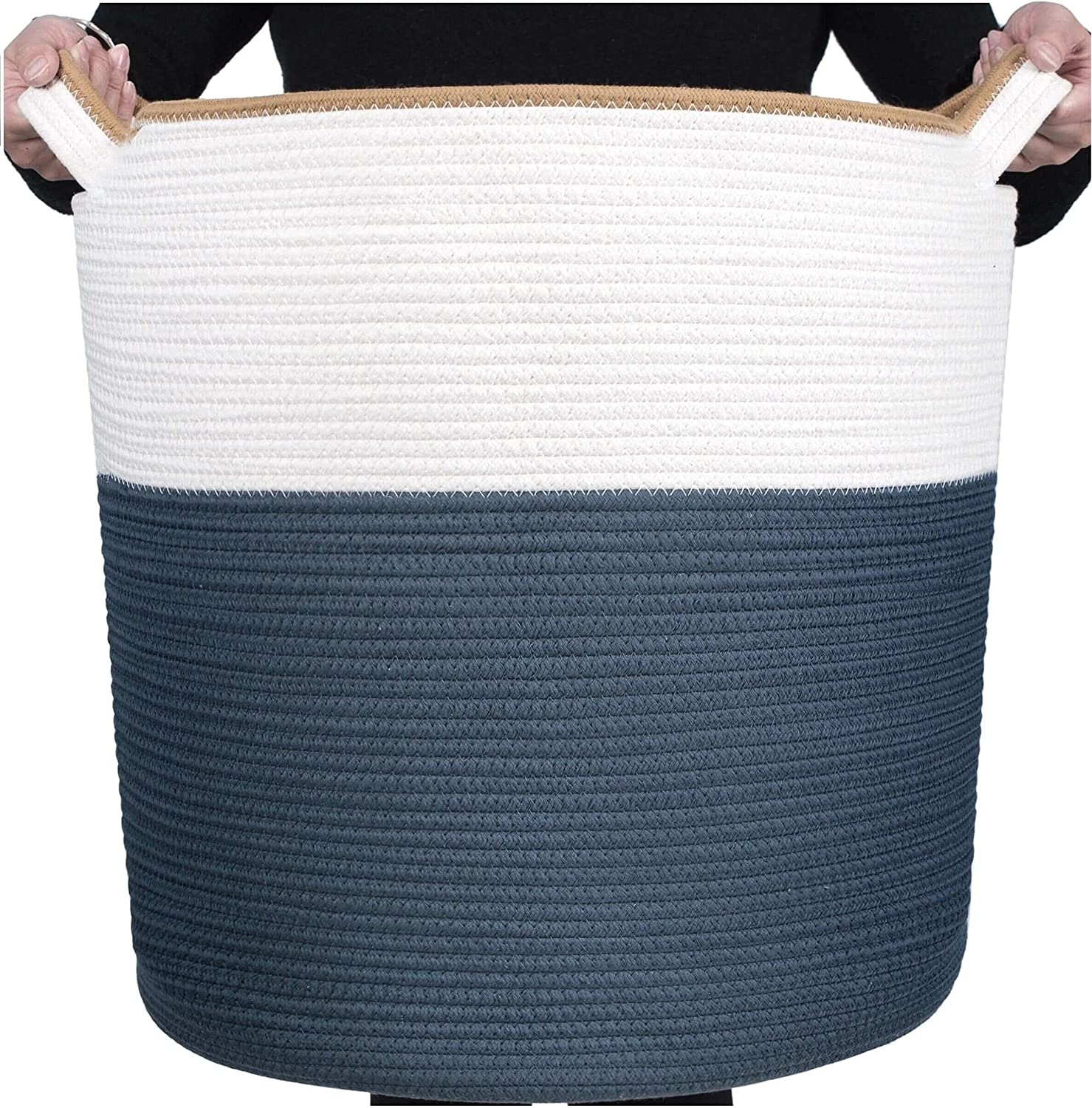 MINTWOOD Design Extra Large 20 x 18 Inches Decorative Woven Cotton Rope Basket, Tall Laundry Basket Hamper, Blanket Basket for Living Room, Round Storage Baskets for Pillows, Towels, Prussian Blue