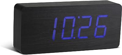 Gingko GK06B10 Holzblock-Digitaluhr 'Click Clock' Schwarz mit Blauer LED-Anzeige