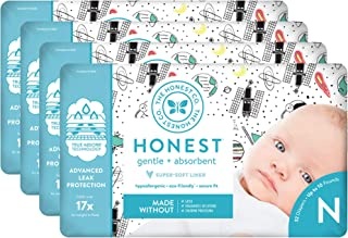 The Honest Company Diapers - Newborn, Size 0 - Space Travel Print | TrueAbsorb Technology | Plant-Derived Materials | Hypo...