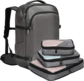 Hynes Eagle 45L Travel Backpack Carry on Backpack Weekender Bag with Compression Packing Cubes 3 Pieces Set, Grey