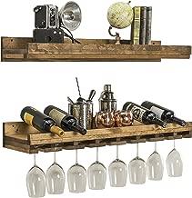 Del Hutson Designs Rustic Real Wood Wall Mounted Wine Bottle Rack Stemware Hanger Set Farmhouse Kitchen Dining (Walnut, 36 Inch / 3 FT)