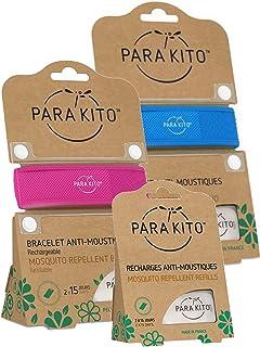 Parakito - PROTECCION NATURAL ANTIMOSQUITO - KIT 2 x Para'kito PULSERA (Azul y Rosada) + 1 x Recarga Para'kito Para Pulsera