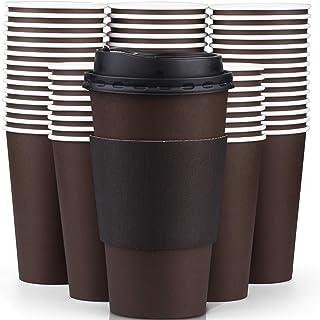 أكواب قهوة بنية للاستعمال مرة واحدة سعة 473 مل مع أغطية وأكمام، أكواب ورقية معزولة فاخرة للقهوة الساخنة (عبوة من 100 قطعة)...