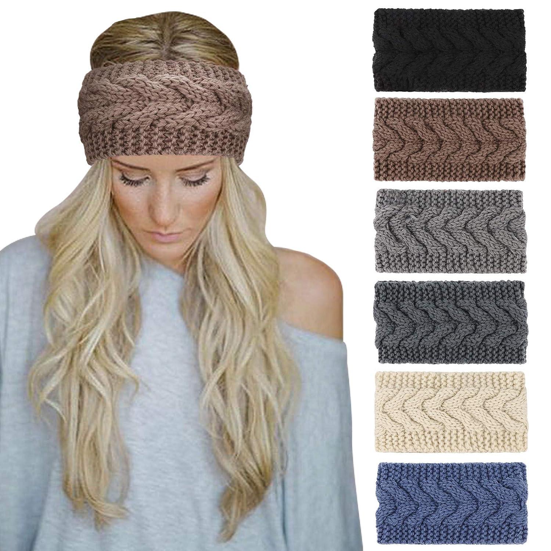 DRESHOW Crochet Ear Warmer Headband Soft knit Turban Stretch Headbands Warmer for Women Winter