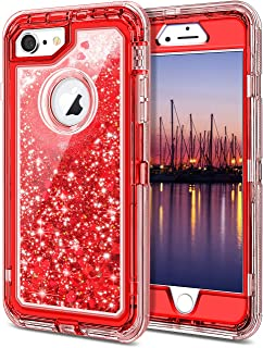 JAKPAK iPhone 6 Case, iPhone 6S Case Shockproof Glitter Flowing Liquid Bling Sparkle Cover for Girl Woman Heavy Duty Full Body Protective Shell for iPhone 6S iPhone 6 4.7 inches Red
