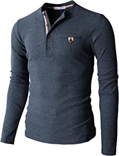 Mens Casual Slim Fit Henley Long Sleeve T Shirts of Waffle Cotton of Various Styles