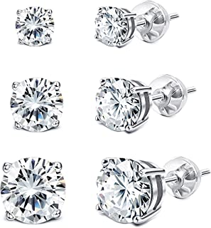 925 Sterling Silver Swarovski Crystal Earrings Sets Stud Earrings for Women(3 Pairs 4mm 6mm 8mm)