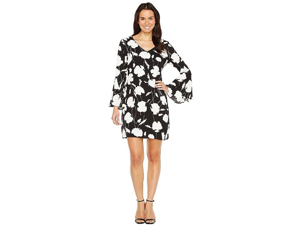 Karen Kane V-Neck Bell Sleeve Dress (Black/Off-White) Women