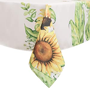 Flyspeed Sunflower Floral Print Rectangle Tablecloth Waterproof Fabric Table Cloth for Dinning Room 60 Inch by 84 Inch