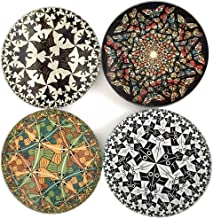 Escher Tessellations Circles Geometric Glass Drink Bar Coasters Set of 4 with Storage Stand
