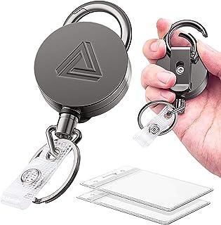 Silver tone spring buckle belt bag clip loop hook keychain key fob ring W4EXATLD