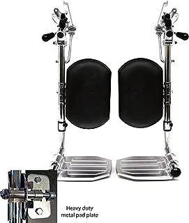 Heavy Duty Chrome Wheelchair Legrests with Aluminum Footplates & Black Calf Pads (Pair), 1-3/8