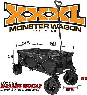 Creative Outdoor Giant All-Terrain Collapsible Folding Wagon Cart for Kids | XXXL Monster Series Wagons | Beach Park Garden & Tailgate | Black