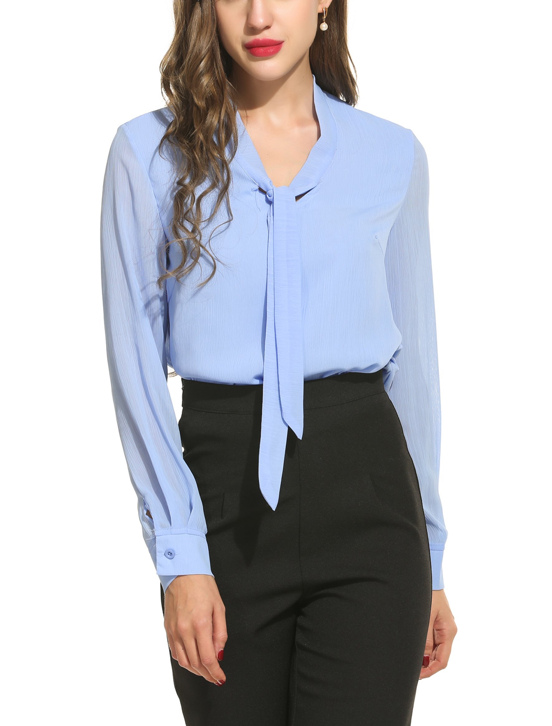 Womens Bow Tie Neck Long/Short Sleeve Casual Office Work Chiffon Blouse Shirts Tops- Buy Online in Kuwait at Desertcart. ProductId : 38057170.