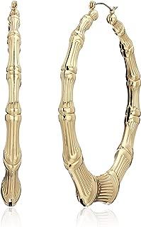 Metal Hoops Women's Bamboo Hoop Earrings, Gold, One Size