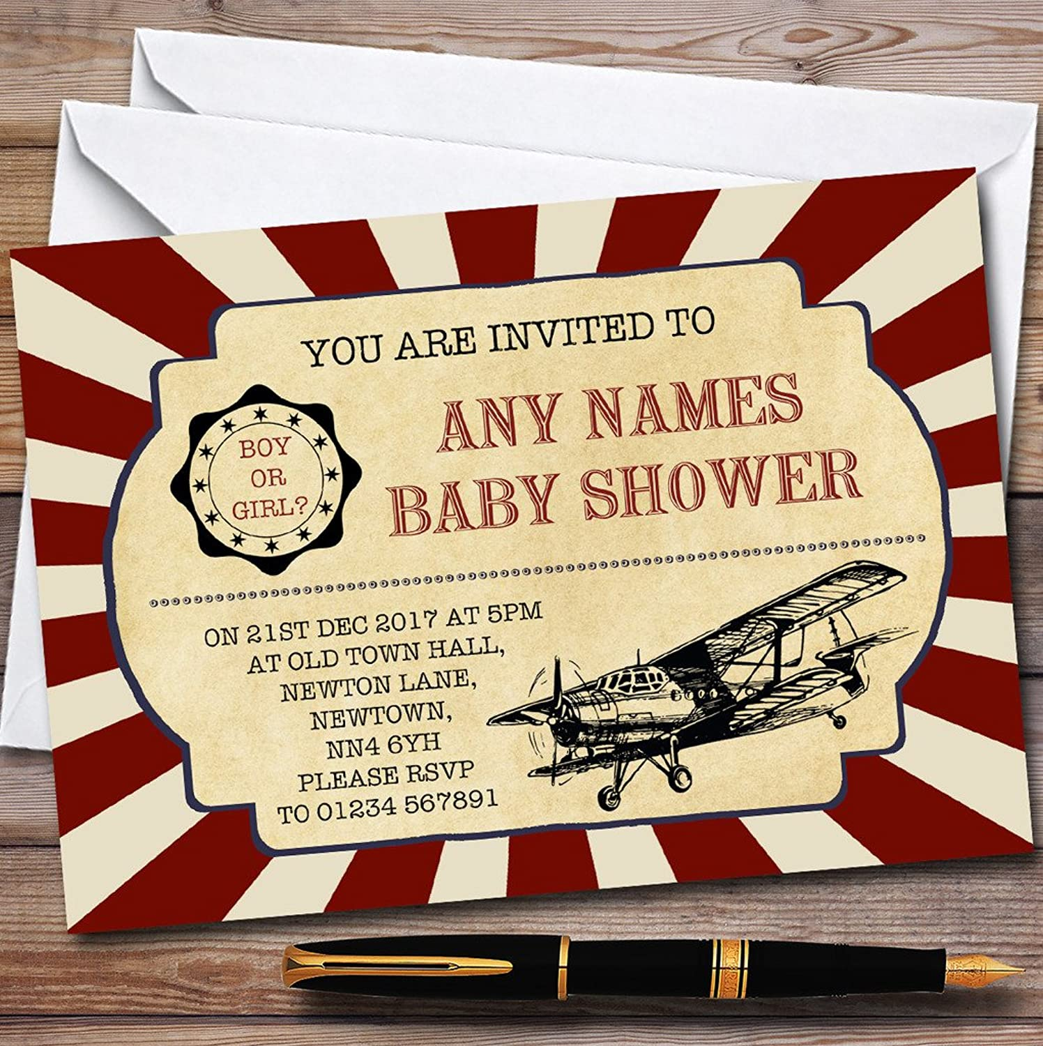 Red Vintage Air Force Aeroplane Invitations Baby Shower Invitations