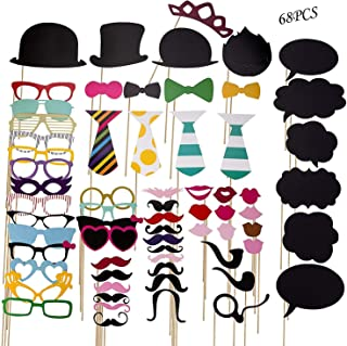 Photo Booth Props Toy 68 Pieces Take photo Party Decoration Mask Prop Party Wedding Birthdays Party graduation gift