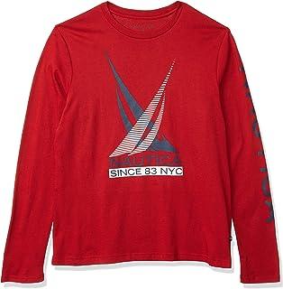 NAUTICA Men's Logo Graphic Long Sleeve T-Shirt