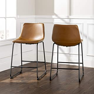 Walker Edison Douglas Urban Industrial Faux Leather Armless Counter Chairs, Set of 2, Whiskey Brown
