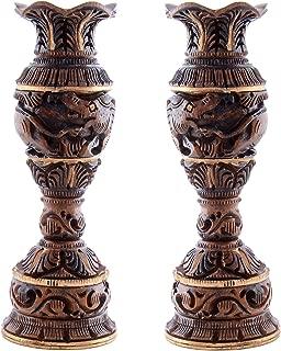 Craft Trade Wooden Flower Pot Liquor Vase Set of 2 Decorative Printed Showpiece for Home Décor/Lounge/Dining Area/Living Room