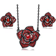 Jewelry Set for Women Thanksgiving Christmas Jewelry Gifts Red Rose Necklace Earrings Set for...