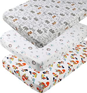White with Bear Elephant Cat and Flower Pattern Onacosht Pack n Play Playard Sheet Set 3 Pack 195 GSM Jersey Cotton Fitted Sheets Soft Breathable Portable Mini Crib Mattress Cover for Baby Boy Girl