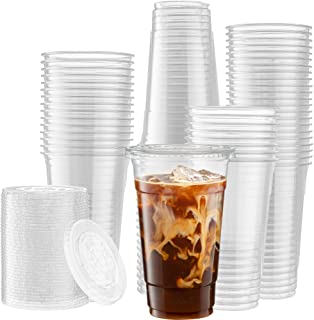 [50 Sets - 24 Oz] Crystal Clear PET Plastic Cups With Flat lids for Iced Coffee, Cold Drinks, Milkshake, Slush Cup, Smooth...