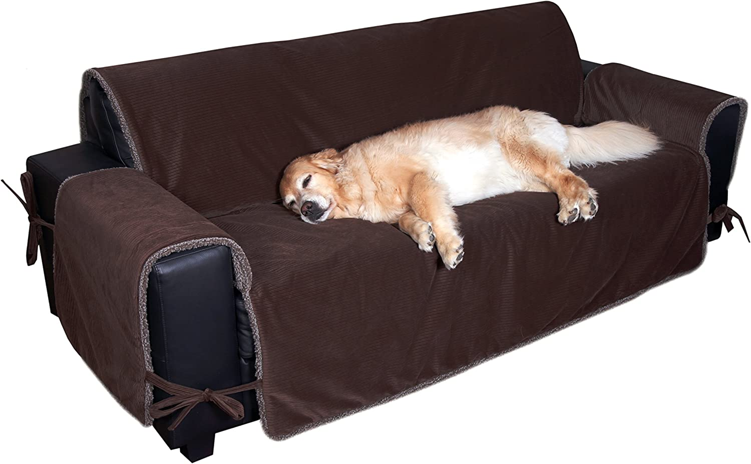 Floppy Ears Design Waterproof Corduroy and Fleece Sit and Stay Couch Predector Furniture Cover (Large, Three Cushion Couch Size, Chocolate)