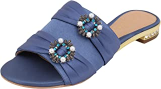 Catwalk Blue Flat Slip on Sandals