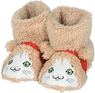 Tan & White Cat Children's Plush Hard Sole Slipper