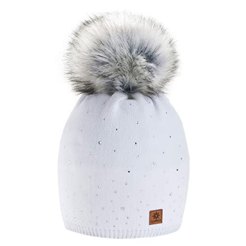 Women Ladies Winter Beanie Hat Wool Knitted with Small Crystals Large Fur  Pom Pom Cap SKI bec52a7efca9