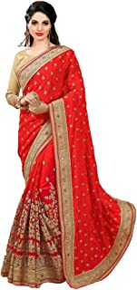 Women's Dhupion Silk & Net Half N Half Real Diamond With Embroidery Dori Work Saree