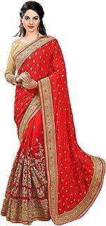 Nivah Fashion Women's Dhupion Silk & Net Half N Half Real Diamond With Embroidery Dori Work Saree