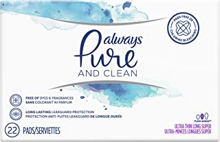 Always Pure & Clean, Ultra Thin Feminine Pads for Women, Long, Super Absorbency, with Wings, Unscented, 22 Count- Pack of 3 (66 Count Total)