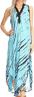 Sakkas Olivia Lightweight Sleeveless Tie Dye Dress with Mandarin Collar